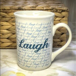 Tall Ceramic Mug Simply Stating 'Laugh""